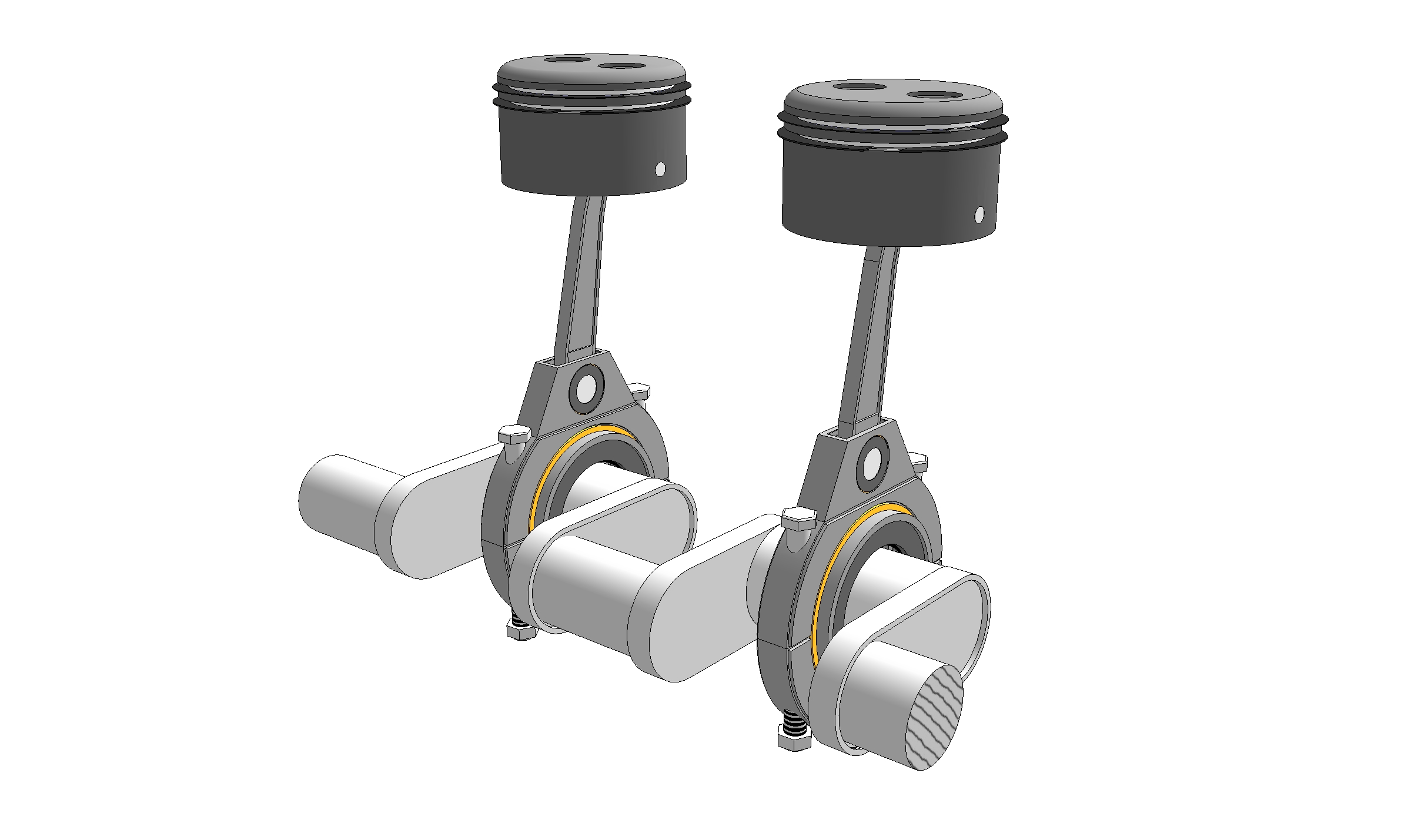 3d Illustration Pistons And Crankshaft