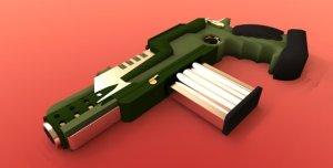 Sci-fi Auto Handgun concept model. HDR rendering