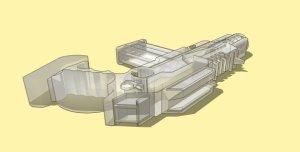 Sci-fi Auto Handgun concept sketch.